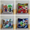 Classic Game Colorful Cartoon Super Mario Pillowcases 45 45cm Cushion Cover Soft Short Plush Decor Pillow 3