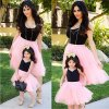 3 Mom and Daughter Dress Pink Patchwork Mesh Princess Dress Mother and daughter clothes Family Look Mother