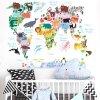 Samolepka Zvířecí mapa světa