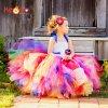 Keenomommy Candy Rainbow Flower Girls Tutu Dress for Birthday Photo Wedding Kids Halloween Christmas Costume TS052 21