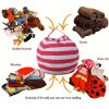 Bag toy storage organizer Kids Stuffed Animal Plush Toy Storage Bean Bag Soft Pouch Stripe Fabric Red