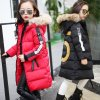 Hot 2018 girls Winter New Cotton Jackets Girls Fashion Fur Collar Letters Coats Girl Thickening Hooded 2