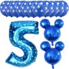 13pcs Mickey Minnie Number 1 2 3 4 5 Foil Balloons Set Helium Latex Globos Baby blue 5 a