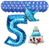 13pcs Mickey Minnie Number 1 2 3 4 5 Foil Balloons Set Helium Latex Globos Baby blue 5 b