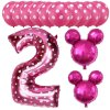 13pcs Mickey Minnie Number 1 2 3 4 5 Foil Balloons Set Helium Latex Globos Baby pink 2 b
