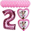 13pcs Mickey Minnie Number 1 2 3 4 5 Foil Balloons Set Helium Latex Globos Baby pink 2 c