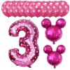 13pcs Mickey Minnie Number 1 2 3 4 5 Foil Balloons Set Helium Latex Globos Baby pink 3 c