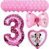 13pcs Mickey Minnie Number 1 2 3 4 5 Foil Balloons Set Helium Latex Globos Baby pink 3 e