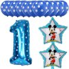 13pcs Mickey Minnie Number 1 2 3 4 5 Foil Balloons Set Helium Latex Globos Baby blue 1 c