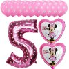 13pcs Mickey Minnie Number 1 2 3 4 5 Foil Balloons Set Helium Latex Globos Baby pink 5 a