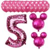 13pcs Mickey Minnie Number 1 2 3 4 5 Foil Balloons Set Helium Latex Globos Baby pink 5 c