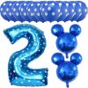 13pcs Mickey Minnie Number 1 2 3 4 5 Foil Balloons Set Helium Latex Globos Baby blue 2 a