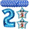 13pcs Mickey Minnie Number 1 2 3 4 5 Foil Balloons Set Helium Latex Globos Baby blue 2 b