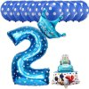 13pcs Mickey Minnie Number 1 2 3 4 5 Foil Balloons Set Helium Latex Globos Baby blue 2 c