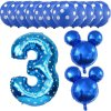 13pcs Mickey Minnie Number 1 2 3 4 5 Foil Balloons Set Helium Latex Globos Baby blue 3 a