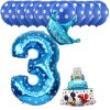 13pcs Mickey Minnie Number 1 2 3 4 5 Foil Balloons Set Helium Latex Globos Baby blue 3 b