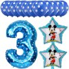 13pcs Mickey Minnie Number 1 2 3 4 5 Foil Balloons Set Helium Latex Globos Baby blue 3 c