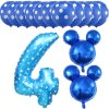 13pcs Mickey Minnie Number 1 2 3 4 5 Foil Balloons Set Helium Latex Globos Baby blue 4 a