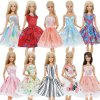 Handmade Mini Dress Mixed Style Casual Dating Wear Lace Skirt Floral Pattern Gown Clothes For Barbie 2