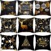 Bílo-zlaté či černo-zlaté vánoční povlaky na polštář 45x45 cm