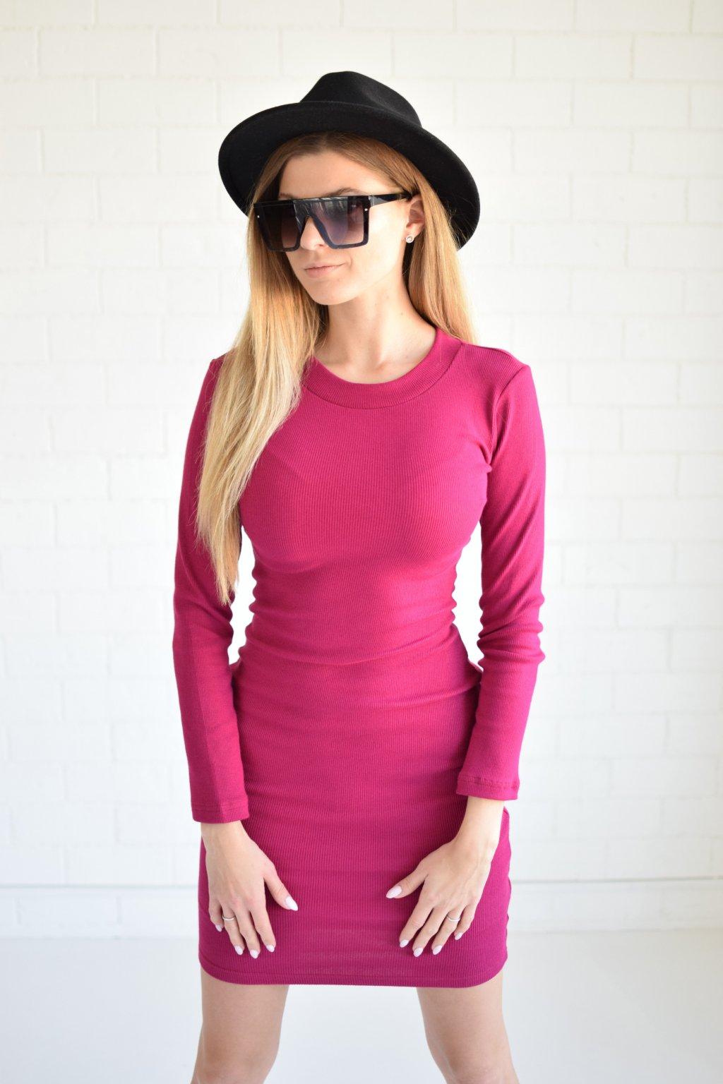 Tmavě růžové šaty LILA dlouhý rukáv