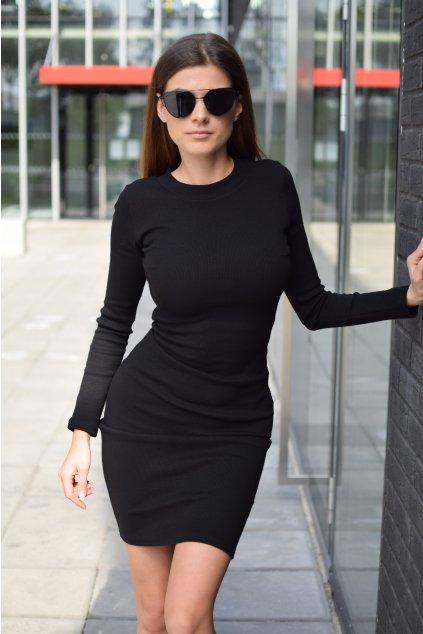Černé šaty LILA dlouhý rukáv