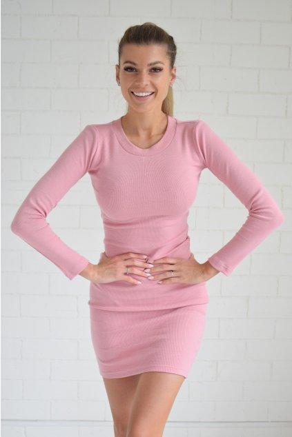 Světle růžové šaty LILA dlouhý rukáv