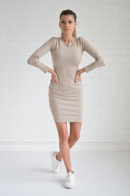 Béžové šaty LILA dlouhý rukáv