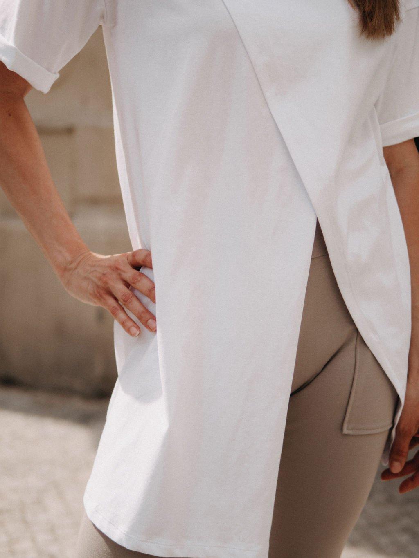 Asymetrické tričko ZIG-ZAG WHITE