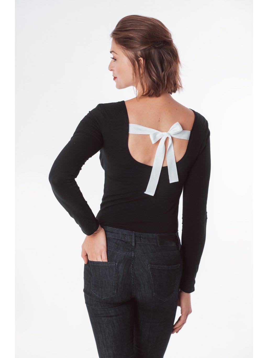 Dámské basic tričko s mašlí na zádech černé