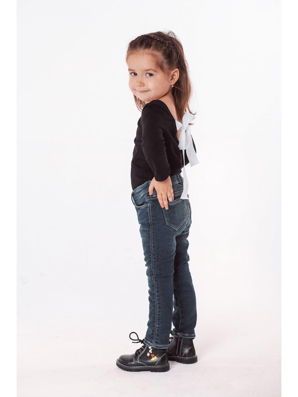 Dětské basic tričko s mašlí na zádech černé
