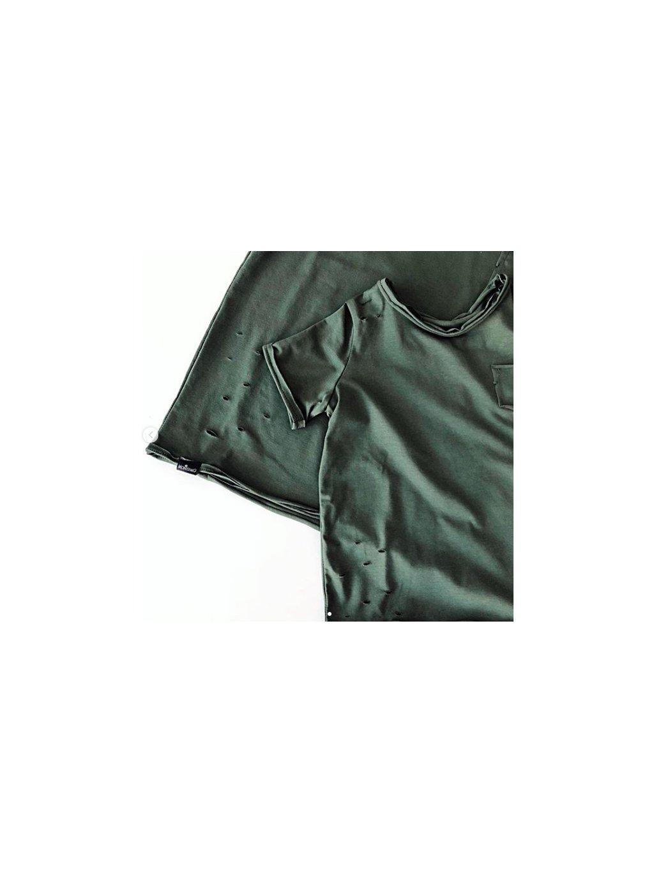 Dětské tričko s potrhaným efektem khaki