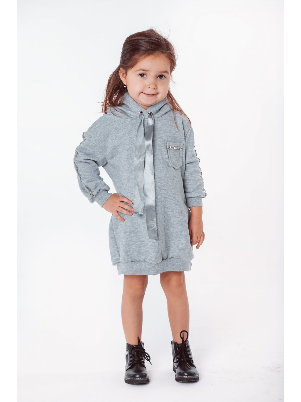 Dětské mikinové šaty silver satin