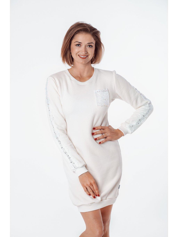 Dámské mikinové šaty WHITE PEARL