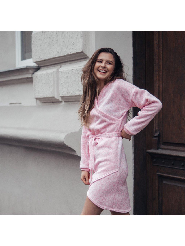 Dámské pletené zavinovací šaty DOLL světle růžové