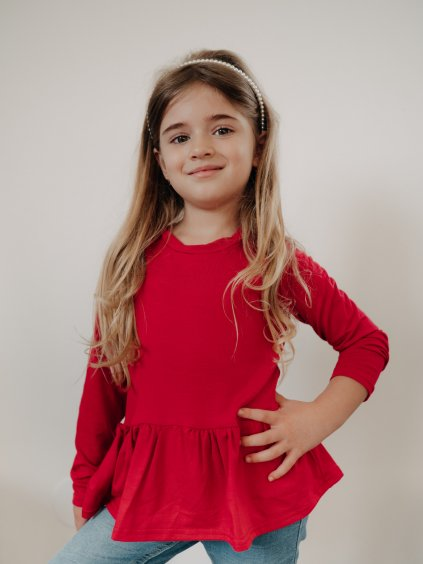 Dětské peplum tričko cherry