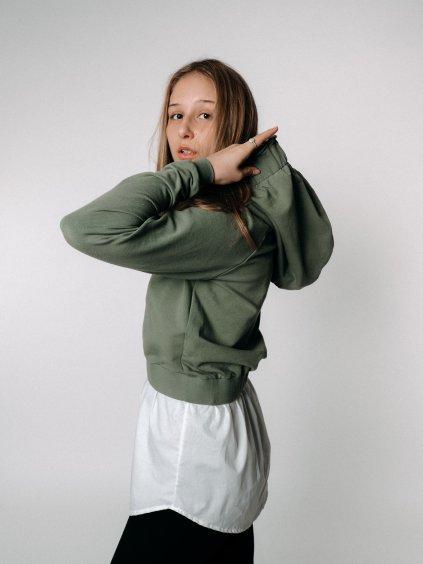 CROP mikina s košilí GREEN