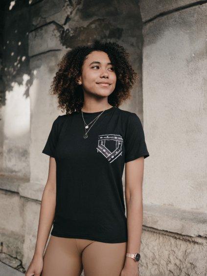 Dámské basic tričko s falešnou kapsou černé