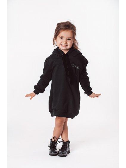 Dětské mikinové šaty black velvet