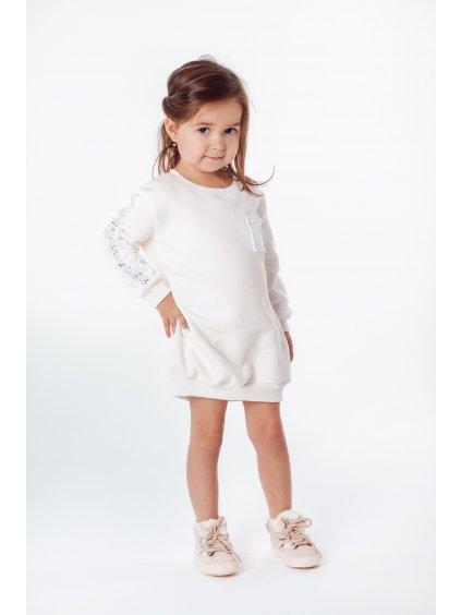 Dětské mikinové šaty WHITE PEARL