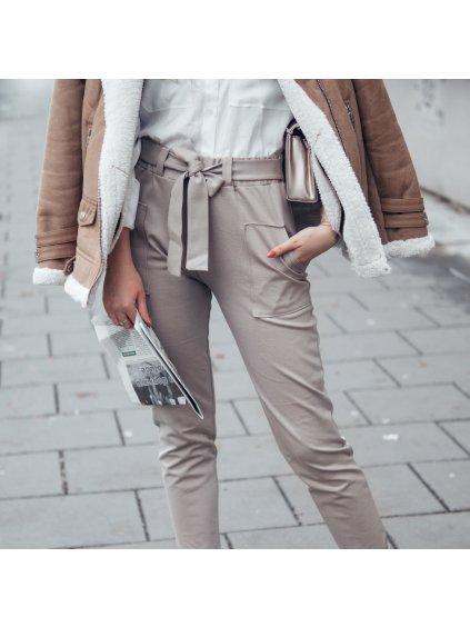 Dámské kalhoty s páskem v pase