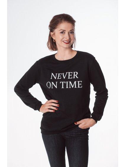 """Dámská mikina """"Never on time"""" černá"""