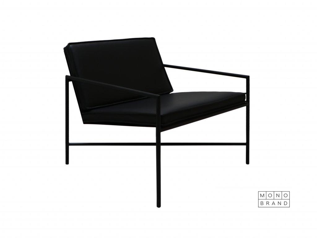 Lounge Chair (Barva - varianty Černý rám, Materiályy Černá kůže)