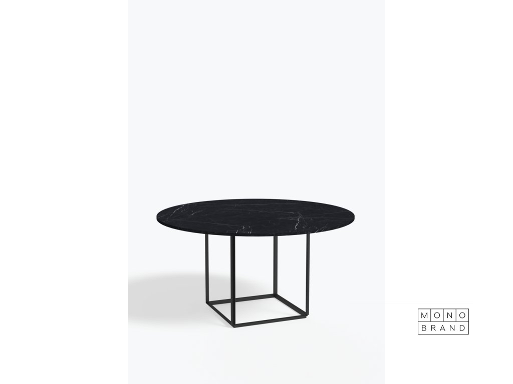 Florence+Dining+Table+Ø145+Iron+Black,+Black+Marble+Side+view