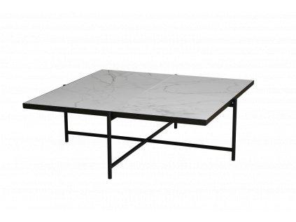 COFFEE TABLE 90 (Barva - varianty Černý rám s mosazem, Materiályy Bílý mramor)