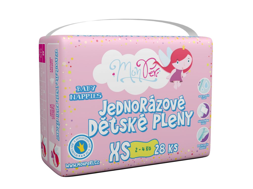 MonPeri Klasik XS 2-4kg - 28 ks EKO Jednorázové dětské pleny (velikost 1)