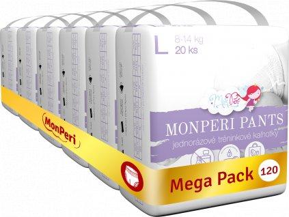 MonPeri EKO Jednorázové tréninkové plenkové kalhotky L 8 – 14kg (velikost 4) 120 ks