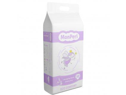 MonPeri Eco Comfort L 8-13 kg - 50ks EKO Jednorázové dětské plenky (velikost 4)