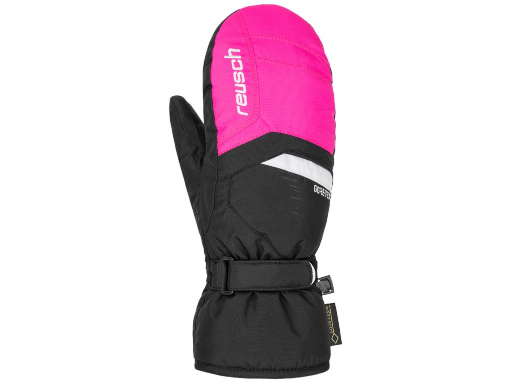 Rukavice palcové Reusch BOLT GTX® JR MITTEN black pink glo 1