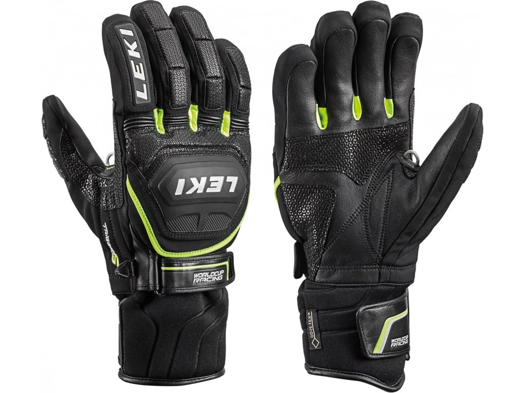 Pánské rukavice Leki WORLDCUP RACE COACH FLEX S GTX, black/yellow